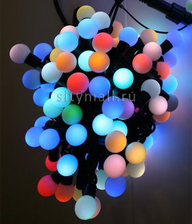 Гирлянда шарики Fiesta, 10 м., 100 RGB LED ламп 23 мм, черный каучук, Beauty Led (RGB BB100-2-2RGB)